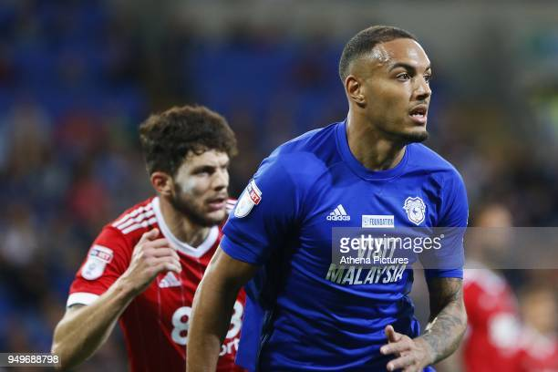 Kenneth Zohore of Cardiff City during the Sky Bet Championship match between Cardiff City and Nottingham Forest at the Cardiff City Stadium on April...