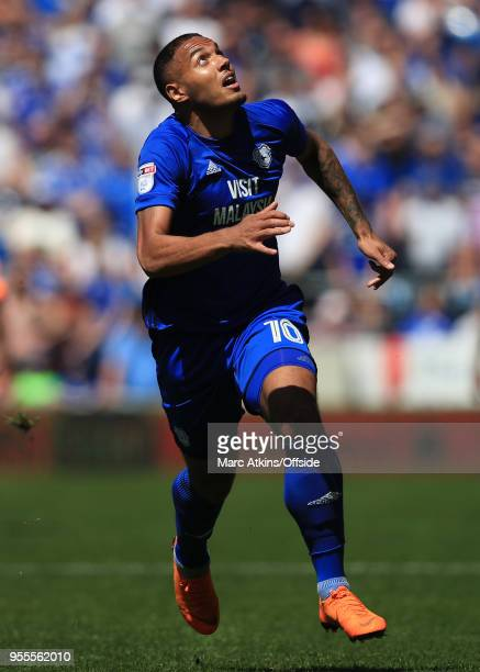 Kenneth Zohore of Cardiff City during the Sky Bet Championship match between Cardiff City and Reading at Cardiff City Stadium on May 6 2018 in...