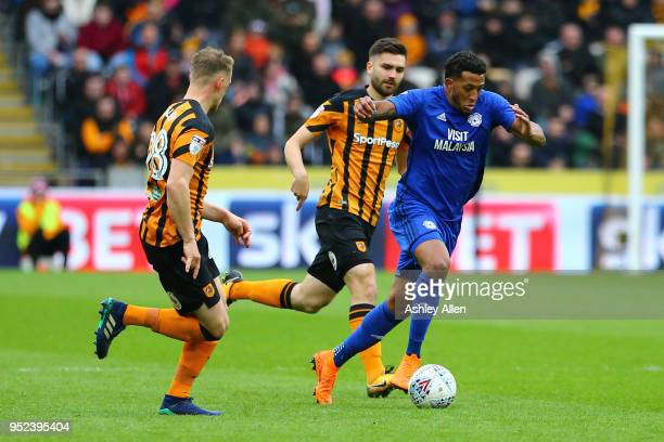 Kenneth Zohore of Cardiff City in action during the Sky Bet Championship match between Hull City and Cardiff City at KCOM Stadium on April 28 2018 in...
