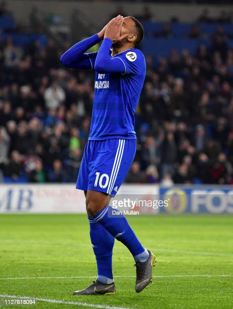 Kenneth Zohore of Cardiff City reacts after a miss during the Premier League match between Cardiff City and Everton FC at Cardiff City Stadium on...