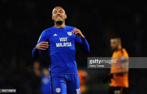 Kenneth Zohore of Cariff Ciy reacts during the Sky Bet Championship match between Cardiff City and Wolverhampton Wanderers at the Cardiff City...