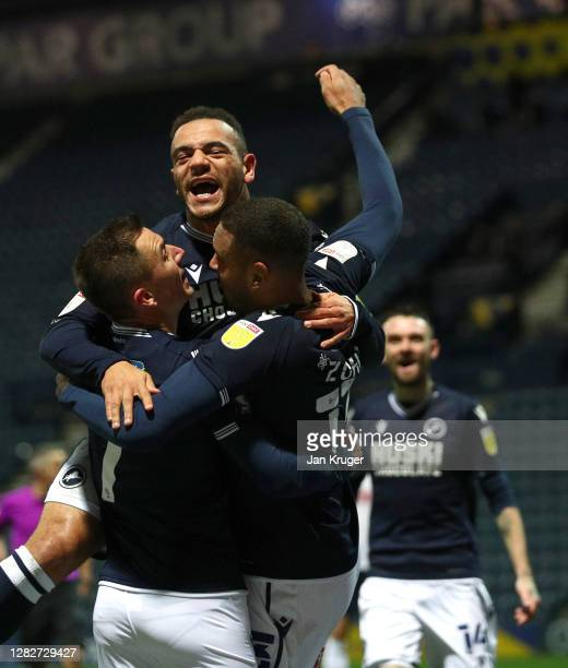 Kenneth Zohore of Millwall celebrates after scoring his team's first goal during the Sky Bet Championship match between Preston North End and...