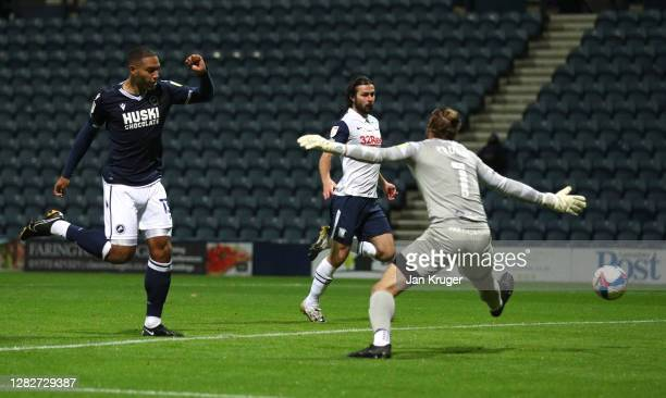 Kenneth Zohore of Millwall scores his team's first goal during the Sky Bet Championship match between Preston North End and Millwall at Deepdale on...