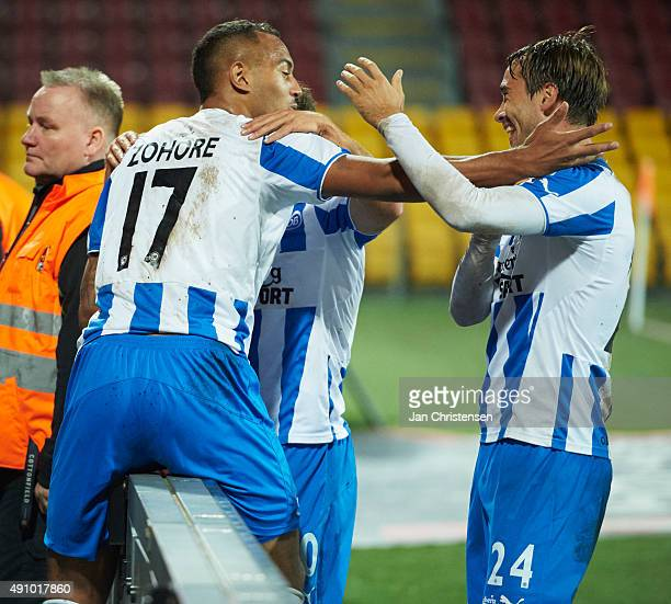 Kenneth Zohore of OB Odense and team mates celebrate after his 14 goal during the Danish Alka Superliga match between FC Nordsjalland and OB Odense...