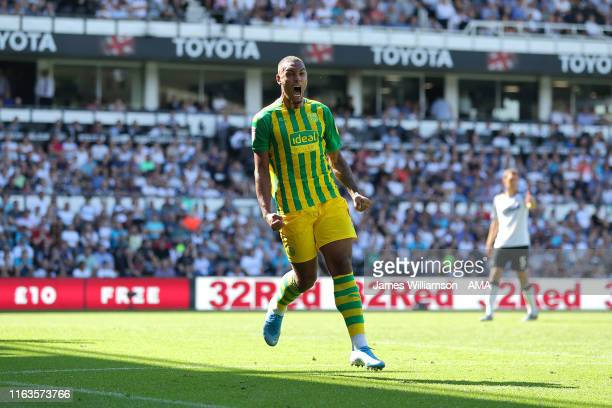 Kenneth Zohore of West Bromwich Albion celebrates after scoring a goal to make it 11 during the Sky Bet Championship match between Derby County and...