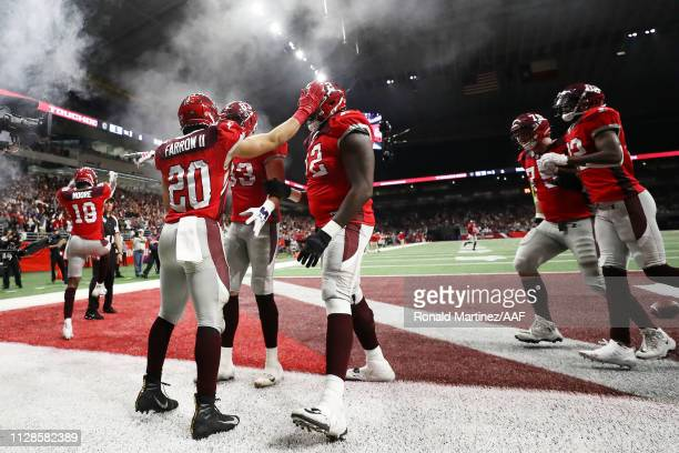 KennethFarrow II of the San Antonio Commanders celebrates with teammates after scoring a touchdown during the fourth quarter against the San Diego...