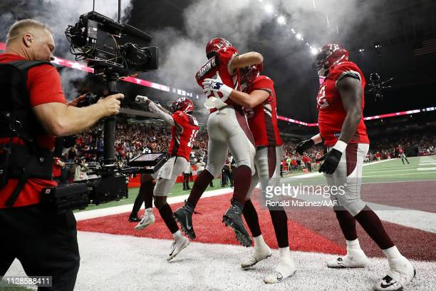 Kenneth Farrow II of the San Antonio Commanders celebrates with teammates after scoring a touchdown during the fourth quarter against the San Diego...
