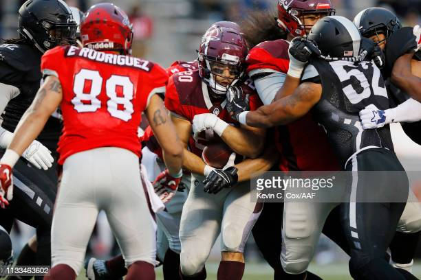 KennethFarrow II of the San Antonio Commanders runs with the ball during the second half against the Birmingham Iron in an Alliance of American...