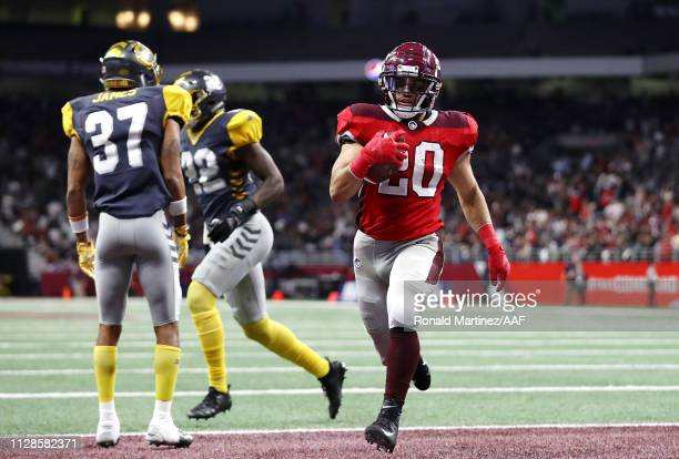 KennethFarrow II of the San Antonio Commanders scores a touchdown during the fourth quarter against the San Diego Fleet in an Alliance of American...