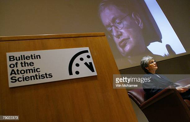 Kennette Benedict participates in a press conference with Stephen Hawking held by the The Bulletin of Atomic Scientists where it was announced that...