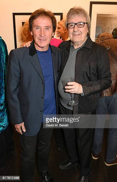 Kenney Jones and Bill Wyman attend a private view of Bill Wyman's photographic exhibition 'Around The World In 80 Years' marking his 80th birthday at...