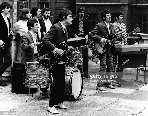 """Kenney Jones, Steve Marriott, Ronnie Lane and Ian McLagan of the rock and roll band """"Small Faces"""" perform on the TV show """"Where The Action Is"""" in..."""