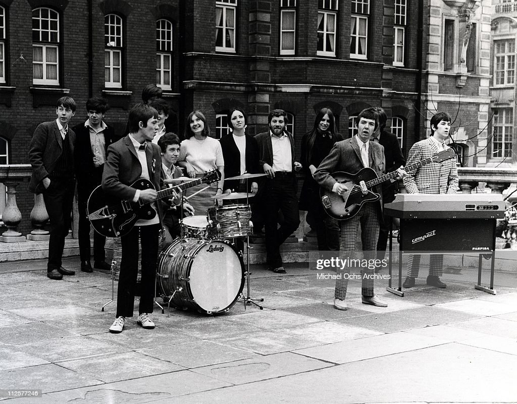 Kenney Jones, Steve Marriott, Ronnie Lane and Ian McLagan of the rock and roll band 'Small Faces' perform on the TV show 'Where The Action Is' in London in April 1966.