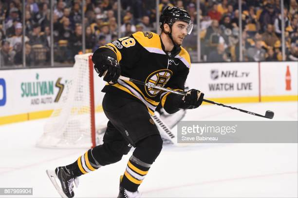 Kenny Agostino of the Boston Bruins skates against the Los Angeles Kings at the TD Garden on October 28 2017 in Boston Massachusetts