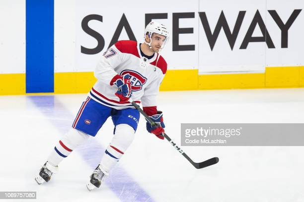 Kenny Agostino of the Montreal Canadiens during warm up against the Edmonton Oilers at Rogers Place on November 13 2018 in Edmonton Alberta Canada