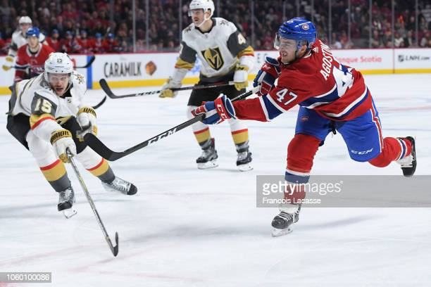 Kenny Agostino of the Montreal Canadiens fires a shot against the Vegas Golden Knights in the NHL game at the Bell Centre on November 10 2018 in...