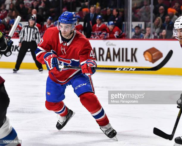Kenny Agostino of the Montreal Canadiens skates against the Colorado Avalanche during the NHL game at the Bell Centre on January 12 2019 in Montreal...