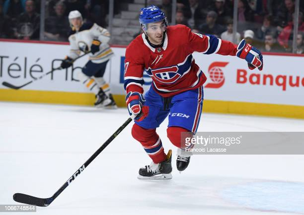 Kenny Agostino of the Montreal Canadiens skates for position against the Buffalo Sabres in the NHL game at the Bell Centre on November 8 2018 in...