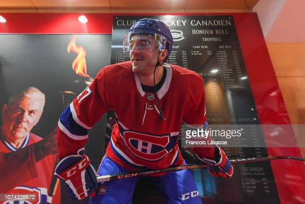 Kenny Agostino of the Montreal Canadiens waits to get in the ice to warmup prior to NHL game against the Boston Bruins at the Bell Centre on December...
