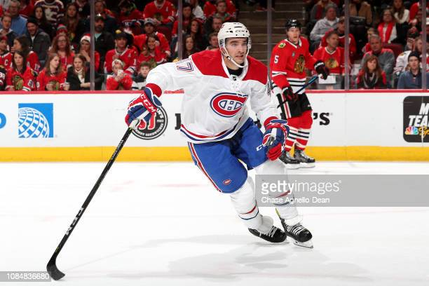 Kenny Agostino of the Montreal Canadiens watches for the puck in the second period against the Chicago Blackhawks at the United Center on December 9...