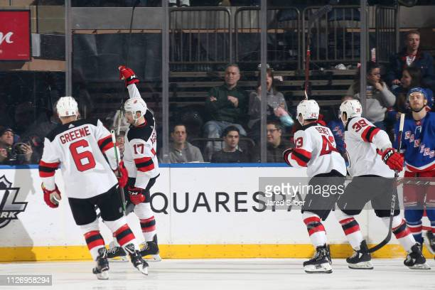 Kenny Agostino of the New Jersey Devils reacts after scoring a goal in the third period against the New York Rangers at Madison Square Garden on...