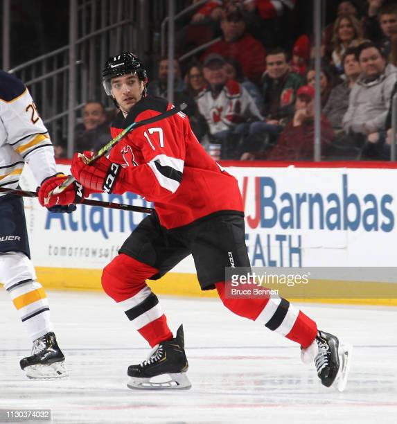 Kenny Agostino of the New Jersey Devils skates against the Buffalo Sabres at the Prudential Center on February 17 2019 in Newark New Jersey