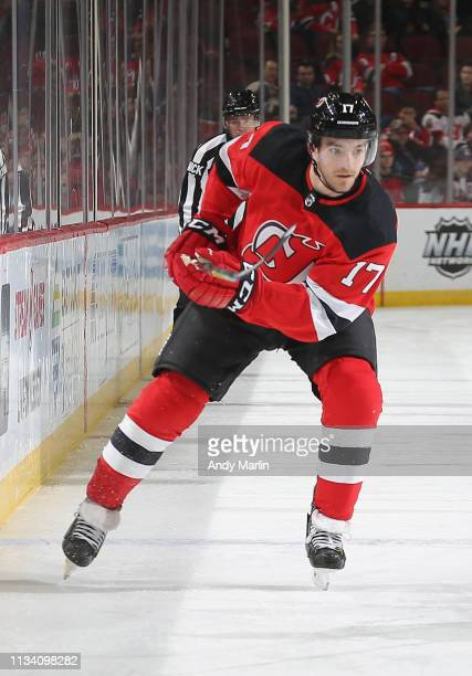 Kenny Agostino of the New Jersey Devils skates against the Columbus Blue Jackets during the game at Prudential Center on March 5 2019 in Newark New...