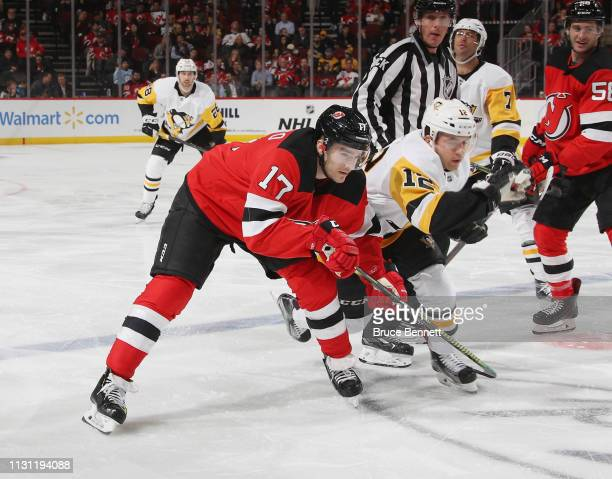 Kenny Agostino of the New Jersey Devils skates against the Pittsburgh Penguins at the Prudential Center on February 19 2019 in Newark New Jersey The...
