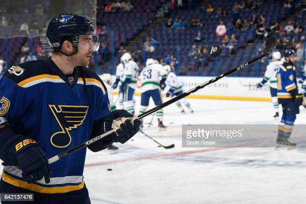 Kenny Agostino of the St Louis Blues juggles a puck prior to a game against the Vancouver Canucks on February 16 2017 in St Louis Missouri