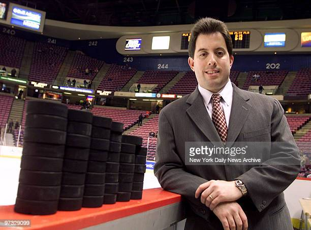 Kenny Albert radio playbyplay announcer for the New York Rangers at Continental Airlines Arena before the Rangers took on the New Jersey Devils