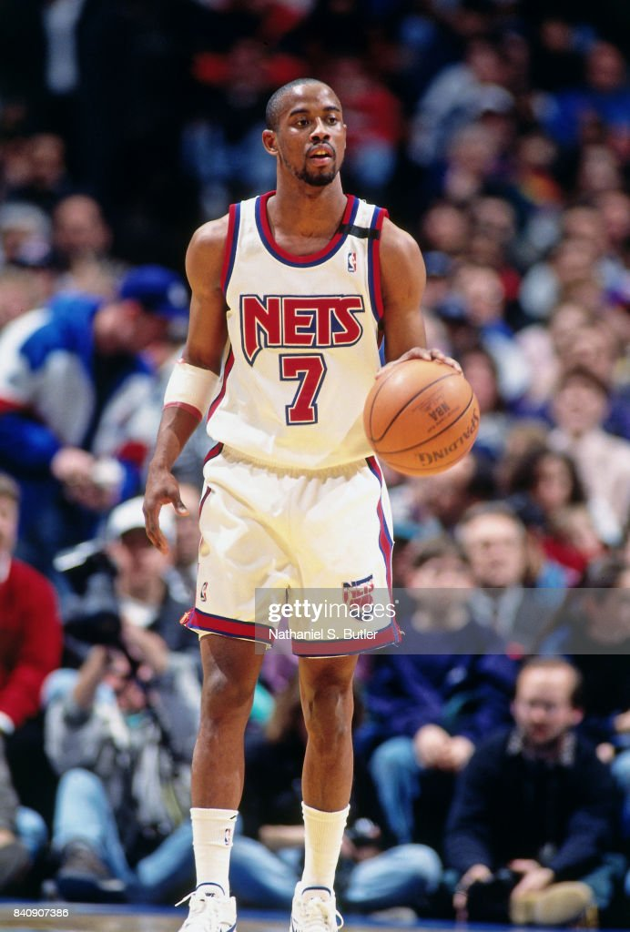 24cfe8026ba6 Kenny Anderson of the New Jersey Nets dribbles circa 1994 at the ...
