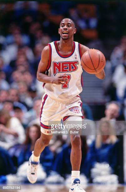 Kenny Anderson of the New Jersey Nets handles the ball during a game played circa 1991 at the Brendan Byrne Arena in East Rutherford New Jersey NOTE...