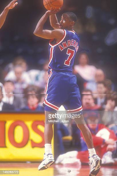 Kenny Anderson of the New Jersey Nets looks to take a jump shot during a basketball game against the Washington Bullets at the Capitol Centre on...