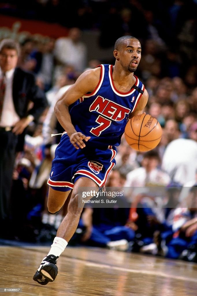 b4172bb927ab Kenny Anderson of the New Jersey Nets moves the ball up court in ...