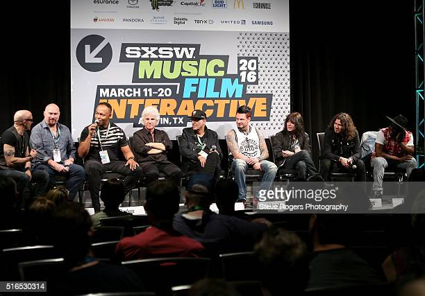 Kenny Aronoff Fran Strine Ray Parker Jr Russell Javors Liberty DeVitto Jason Hook Rudy Sarzo phil Xenidis and Chris Johnson speak onstage at 'Hired...
