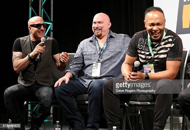 Kenny Aronoff Fran Strine Ray Parker Jr speak onstage at 'Hired Guns World's Greatest Backing Musicians' during the 2016 SXSW Music Film Interactive...