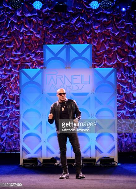 Kenny Aronoff speaks on stage at the Parnelli Awards during the 2019 NAMM Show at the Anaheim Convention Center on January 25 2019 in Anaheim...