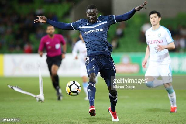 Kenny Athiu of the Victory controls the ball during the AFC Asian Champions League match between the Melbourne Victory and Kawasaki Frontale at AAMI...