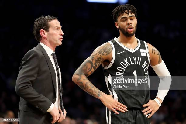 Kenny Atkinson of the Brooklyn Nets has a conversation with D'Angelo Russell of the Brooklyn Nets in the third quarter against the New Orleans...