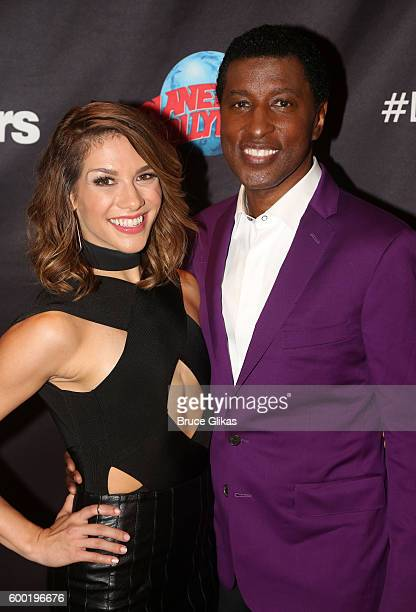Kenny 'Babyface' Edmonds and Allison Holker spose as Season 23 of 'Dancing With The Stars' meets the press at Planet Hollywood Times Square on...