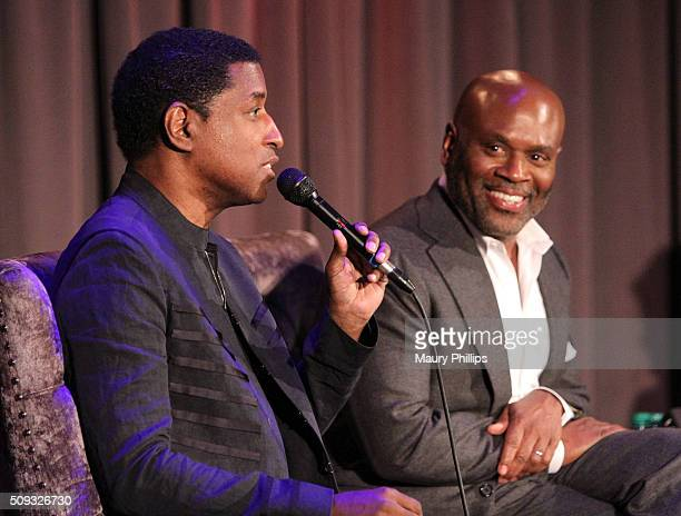 Kenny Babyface Edmonds and LA Reid speak onstage during Icons of the Music Industry LA Reid at The GRAMMY Museum on February 9 2016 in Los Angeles...