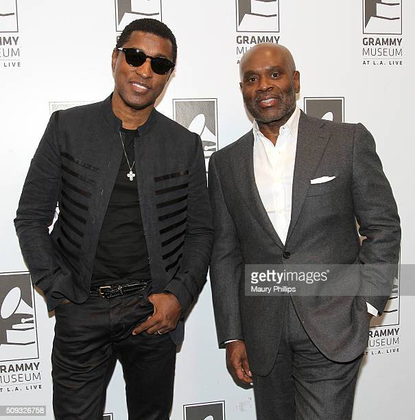 Kenny 'Babyface' Edmonds and LAReid attend Icons of the Music Industry LA Reid at The GRAMMY Museum on February 9 2016 in Los Angeles California