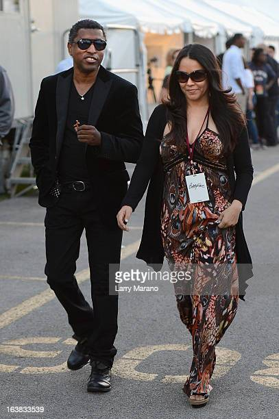 Kenny Babyface Edmonds and Nicole 'Nikki' Pantenburg are seen backstage at the 8th Annual Jazz In The Gardens Day 1 at Sun Life Stadium presented by...