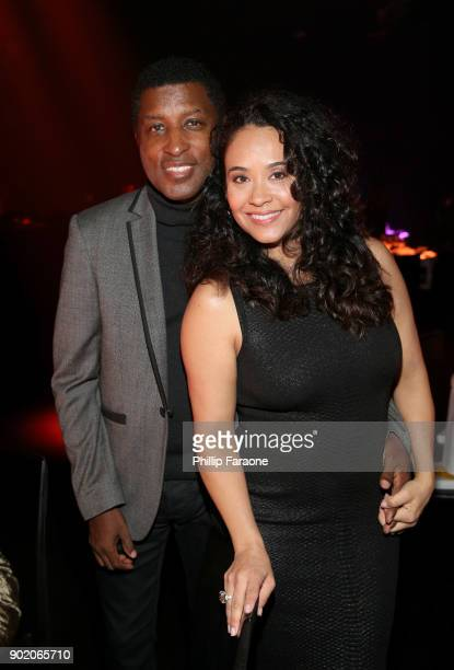 Kenny 'Babyface' Edmonds and Nicole Pantenburg attend The Art Of Elysium's 11th Annual Celebration with John Legend at Barker Hangar on January 6...