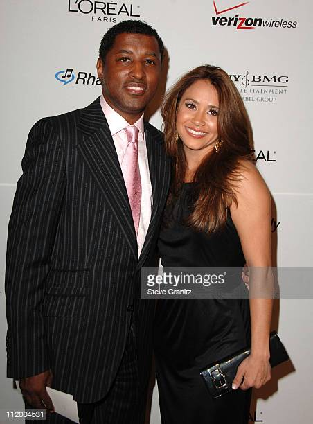 Kenny Babyface Edmonds and Nicole Pantenburg during 2007 Clive Davis PreGRAMMY Awards Party Arrivals at Beverly Hills Hilton in Beverly Hills...