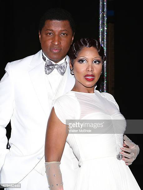 Kenny 'Babyface' Edmonds and Toni Braxton backstage after their debut performance in 'After Midnight' at the Brooks Atkinson Theatre on March 18 2014...