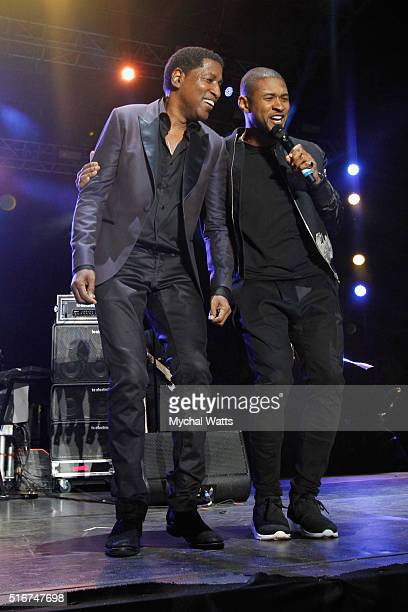 Kenny 'Babyface' Edmonds and Usher perform onstage at 11th Annual Jazz In The Gardens Music Festival Day 2 at Sunlife Stadium on March 20 2016 in...