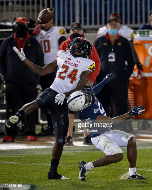 Kenny Bennett of the Maryland Terrapins intercepts a pass intended for Jahan Dotson of the Penn State Nittany Lions during the second half at Beaver...