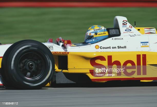 Kenny Brack of Sweden drives the Team Rahal Shell Reynard 2KI FordCosworth XF during practice for the Championship Auto Racing Teams 2002 FedEx...