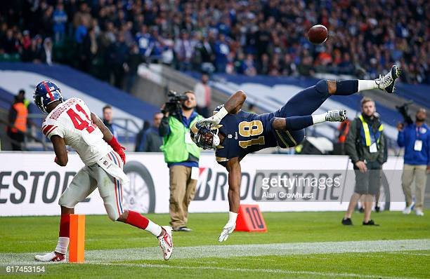 Kenny Britt of the Los Angeles Rams leaps for a pass but its incomplete during the NFL International Series match between New York Giants and Los...